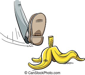 Banana Peel Step - A cartoon foot about to step and slip on...