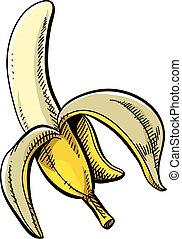 Banana - A cartoon of a yellow, peeled banana