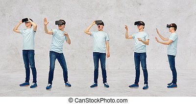 man in virtual reality headset or 3d glasses set - 3d...
