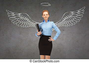 happy businesswoman with angel wings and nimbus - business,...