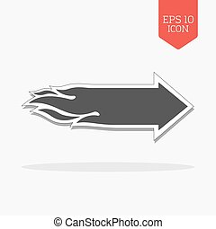 Flaming arrow icon. Speed concept. Flat design gray color...