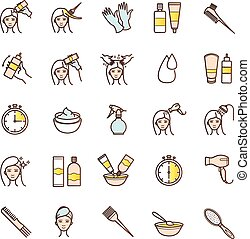 Hair dyeing icons set for your design