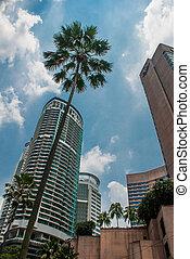 The skyscrapers of the city Kuala Lumpur, Malaysia. - Street...