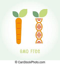 Genetically Modified Organisms GMO FREE symbol emblem icon