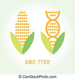 Genetically Modified Organisms GMO FREE symbol emblem icon...