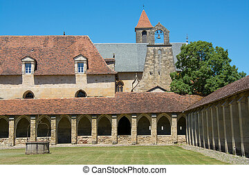 Cloister of The Chartreuse of Saint-Sauveur, France -...