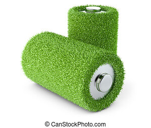 Green energy. Battery from grass
