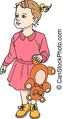 Vector illustration of a beautiful child with a cute teddy...