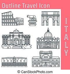 Rome Landmark Outline 1 - Vector Illustration of Rome...