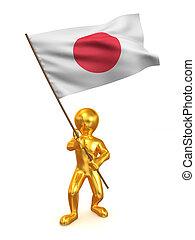 homens, bandeira, Japão