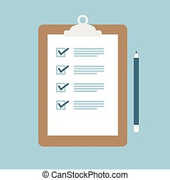 Checklist illustration, vector clipboard with pencil