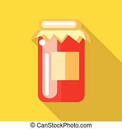 Jar of red fruity jam icon in flat style on a yellow...