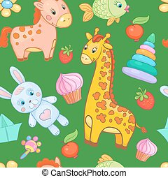 Baby toys seamless pattern vector animal background.