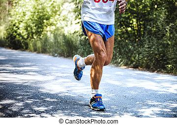 old man runs marathon - feet old man runs a marathon on the...