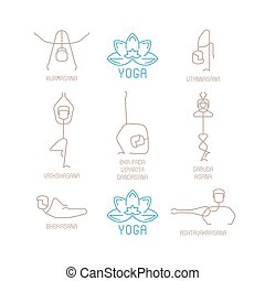 Yoga poses vector illustration in mono line style