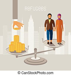 Civil war refugees vector infographics. Emigrants from...
