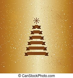 Christmas gold tree with snow flakes card.
