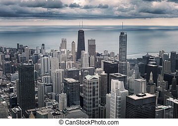 Chicago cityscape view - Chicago downtown cityscape with...