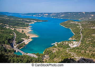Verdon canyon with St. Croix Lake in Provence, France