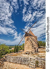 Old stone windmill in Saint Saturnin les Apt, Provence,...