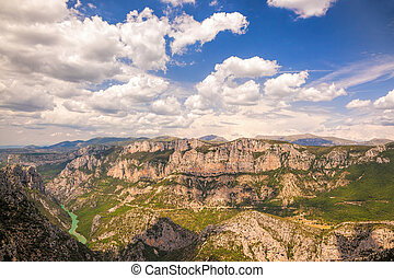 Canyon of Verdon with boats in Provence, France. The largest...