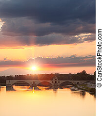 Avignon Bridge with Rhone river at sunset, Pont...