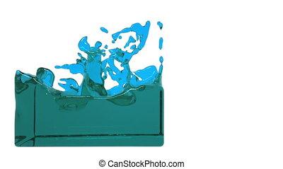 turbulent blue liquid filling a container - turbulent blue...