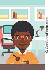 Man using three D pen vector illustration - An...
