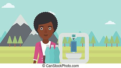 Woman with three D printer vector illustration -...
