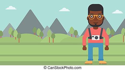 Man with camera on chest vector illustration.