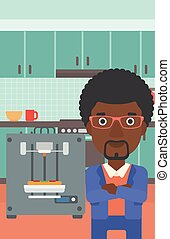 Man with three D printer vector illustration. - An...