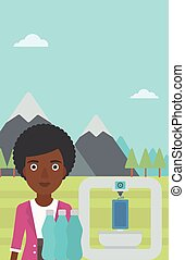 Woman with three D printer vector illustration. - An...