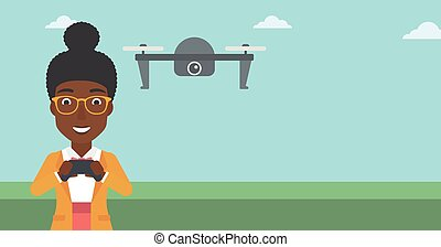 Woman flying drone vector illustration - An african-american...