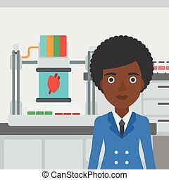 Woman with three D printer vector illustration - An...