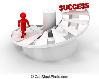 Men on stairsSuccess 3d