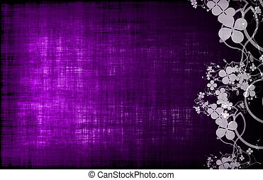 Purple Grunge Design Texture with Flower Vines
