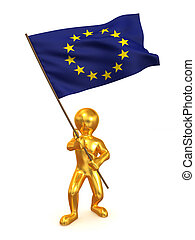 Men with flag. Europe