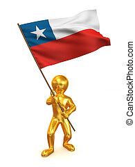 Men with flag. Chile. 3d