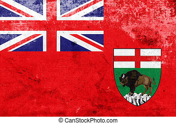 Flag of Manitoba Province, Canada, with a vintage and old...