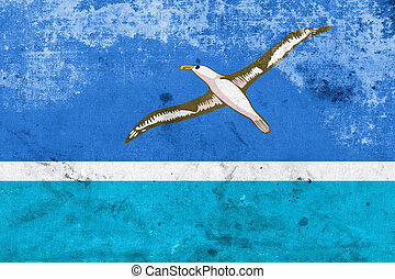 Flag of Midway Atoll (unofficial), with a vintage and old...