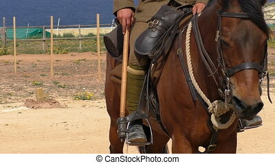 Lancer on horse - Close up view of British cavalryman...