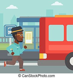 Latecomer man running for the bus - An african-american...