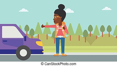 Young woman hitchhiking vector illustration - An...