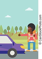 Young man hitchhiking vector illustration - An...
