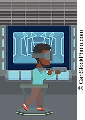 Man in virtual reality headset playing video game. - An...