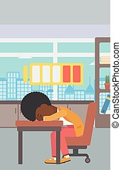 Woman sleeping at workplace vector illustration. - An...