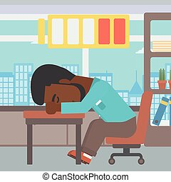 Man sleeping at workplace vector illustration - An...