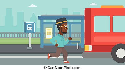 Latecomer man running for the bus. - African-american...