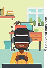 Man wearing virtual reality headset. - An african-american...