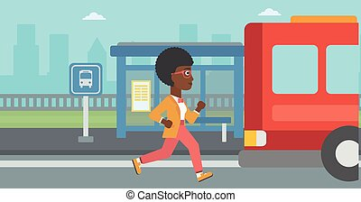 Latecomer woman running for the bus - An african-american...